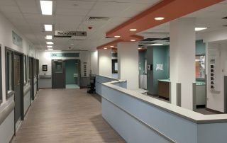 inside the new icu showing spacious nurses' station