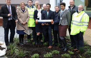 Walsall healthcare staff pictured before time capsule is buried