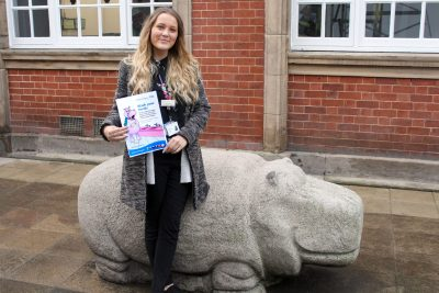 chloe with the stone hippo