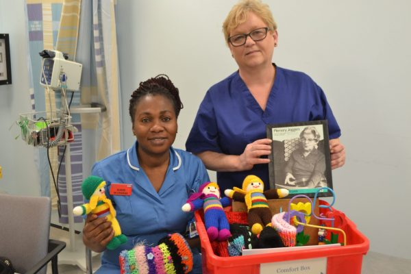 Staff Nurse Rita and CSW Julie with the comfort box