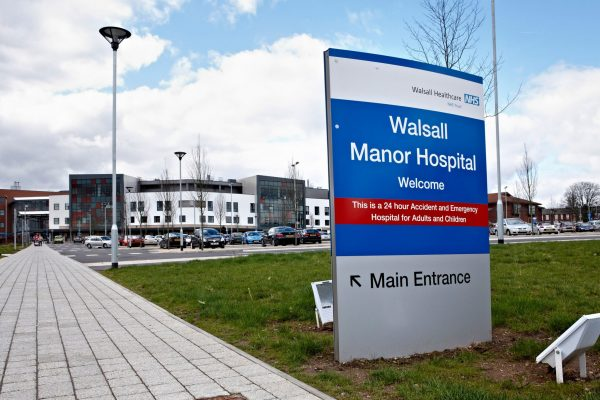 Walsall Manor Hospital entrance sign