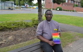 Chaplain Anthony with his book