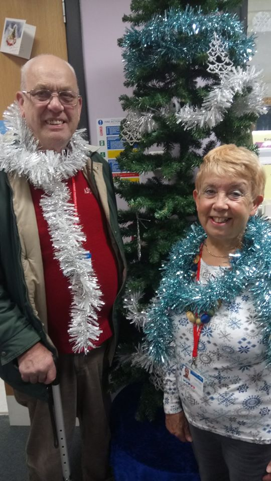 Dave and Sue volunteering on Christmas Day
