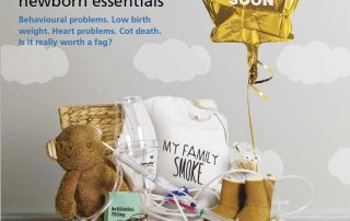 A poster that shows a baby shower gift basket with medical items in it