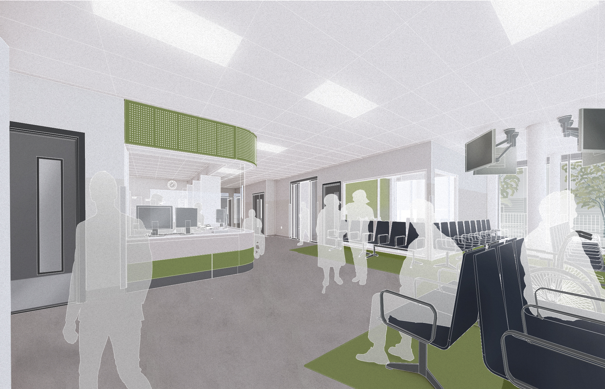 Artist's impression of a waiting area