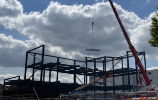 The steel frame work is now in place for the Emergency Department