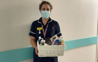 Bereavement midwife Laura with toiletries